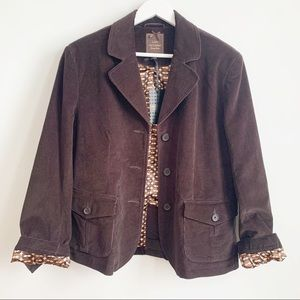 NWT Lady Harhaway Brown Corduroy Blazer Jacket L